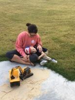 Camp & Mama playing tractors blog 11.25